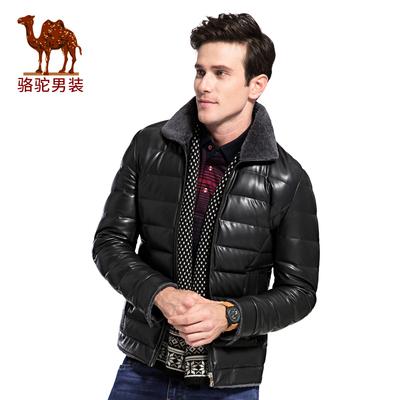 Camel/骆驼男装冬季翻领带毛领PU皮外套纯色休闲男青年无弹羽绒服