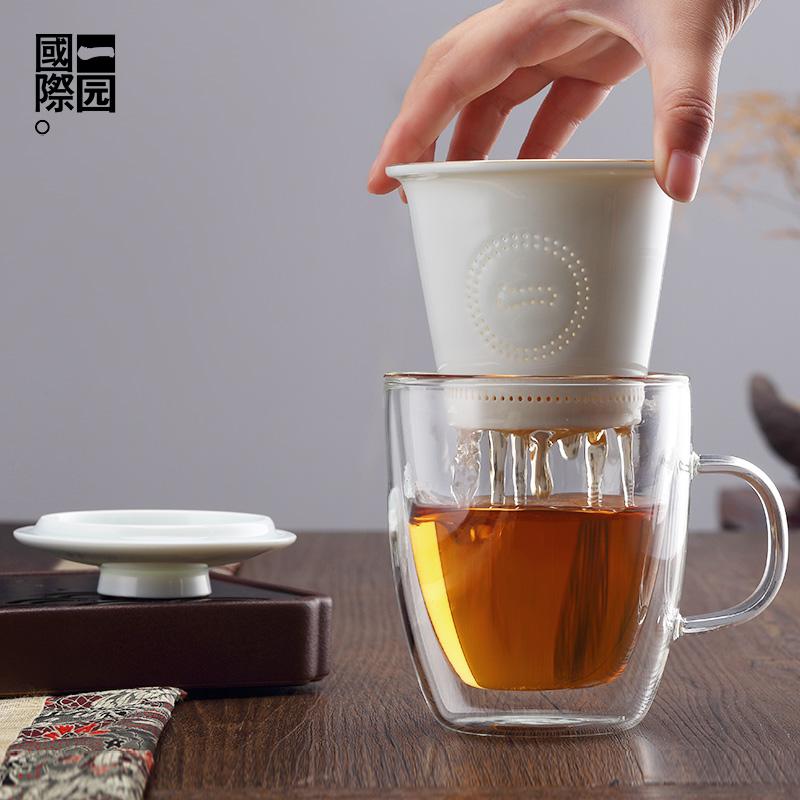 一园国际 双层隔热茶杯防烫  耐热玻璃 陶瓷过滤内胆不烫手茶杯