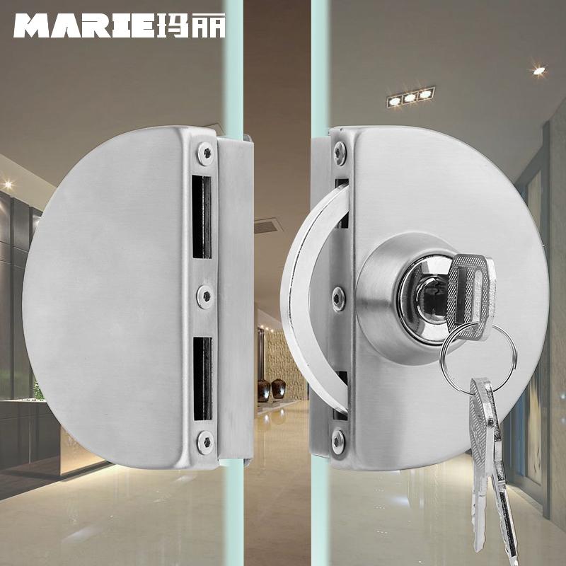 玛丽玻璃门锁推拉玻璃锁双门免开孔不锈钢店铺中央锁单开门插销锁