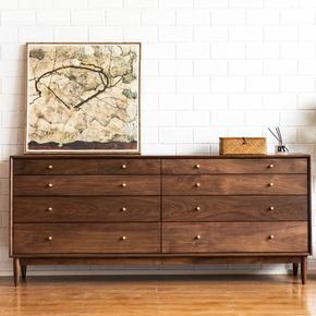 北欧日式黑胡桃木实木八斗柜抽屉储物柜置物柜收纳边柜卧室家具
