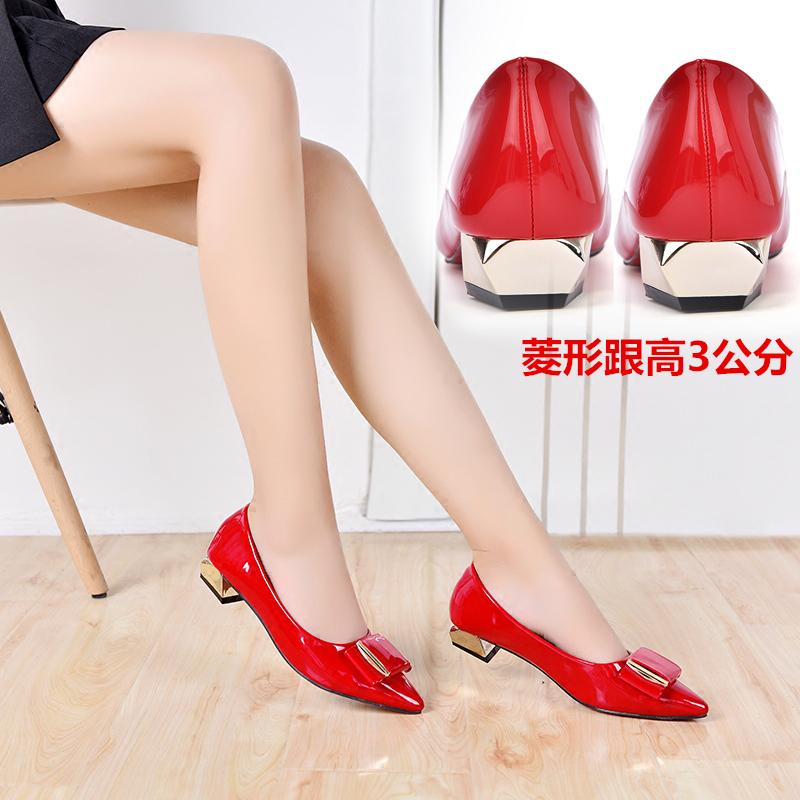 紅色尖頭平底鞋皮紅色