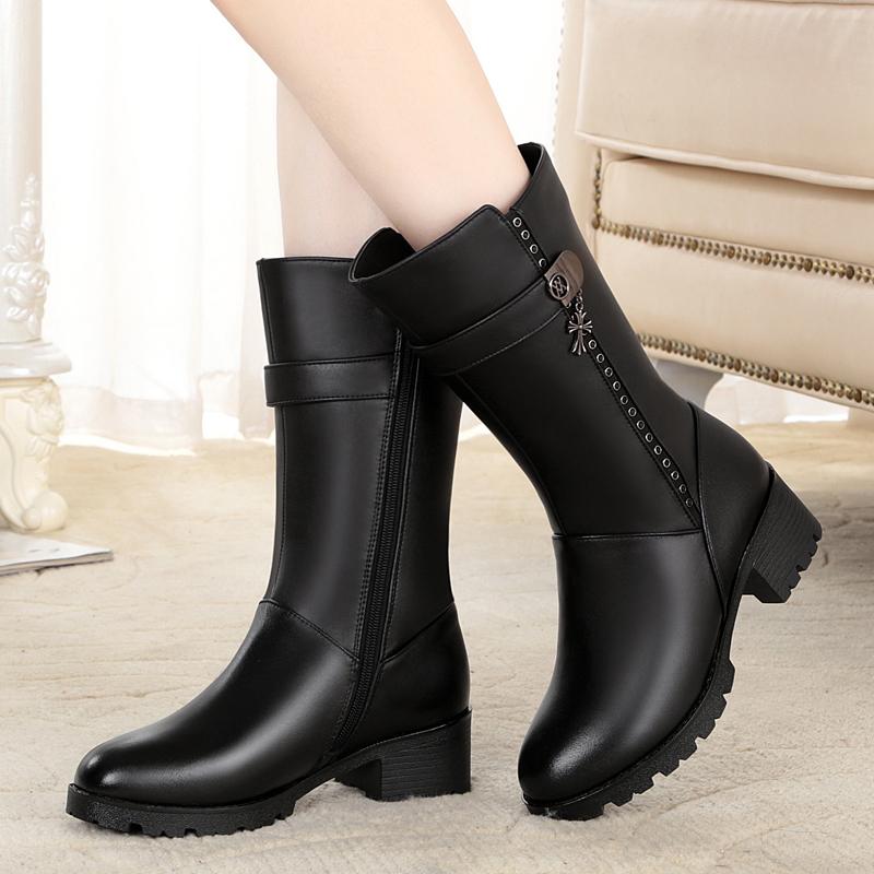 女棉鞋2018冬季新款真皮女鞋中筒羊毛保暖女靴软牛皮鞋大码35-43