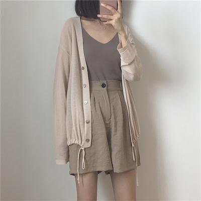 muzi 18夏/温油的杏粉色~显白!薄款长袖针织衫 百搭空调衫防晒衣