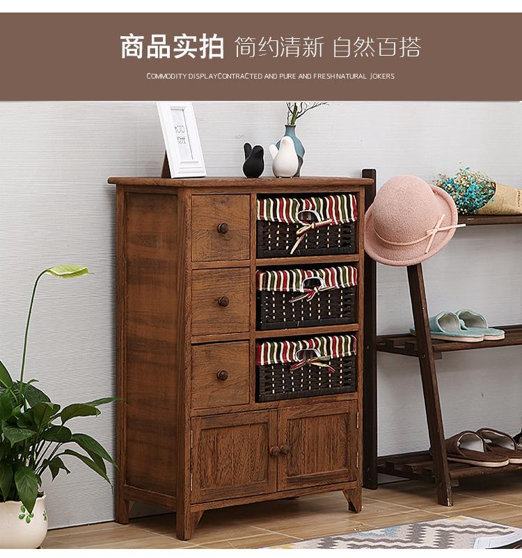 床边床头柜简易收纳复古斗柜子储物柜简约现代整装多功能卧室实木