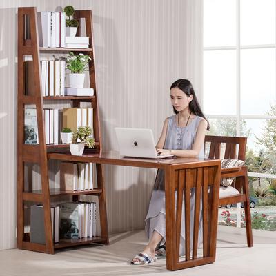 艺格森活 全实木书桌书架组合带书椅电脑桌书房带椅子写字台