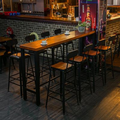 美式实木酒吧铁艺星巴克高脚桌椅长条家用奶茶店复古咖啡厅组合