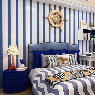 天屏山无纺布壁纸地中海蓝色条纹凹凸发泡客厅背景墙满铺自粘墙纸品牌巨惠