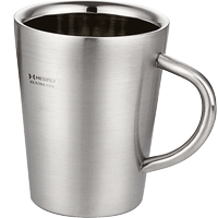 304 stainless steel double-layer water cup with lid cup thickening heat insulation anti-hot office cup coffee cup drinking tea cup with handle