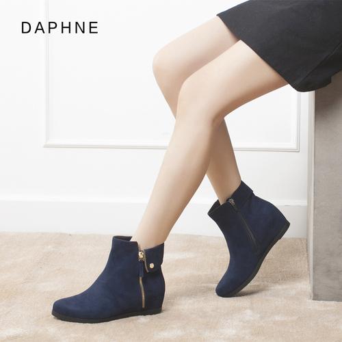 达芙妮雪地靴女鞋百搭平底冬鞋棉鞋女靴韩版短筒厚底内增高短靴子