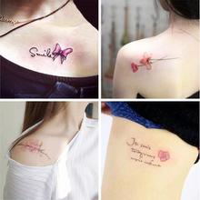 韩国少女防水仿真纹身贴持久花朵彼岸花可爱性感脚踝贴纸 1套30张