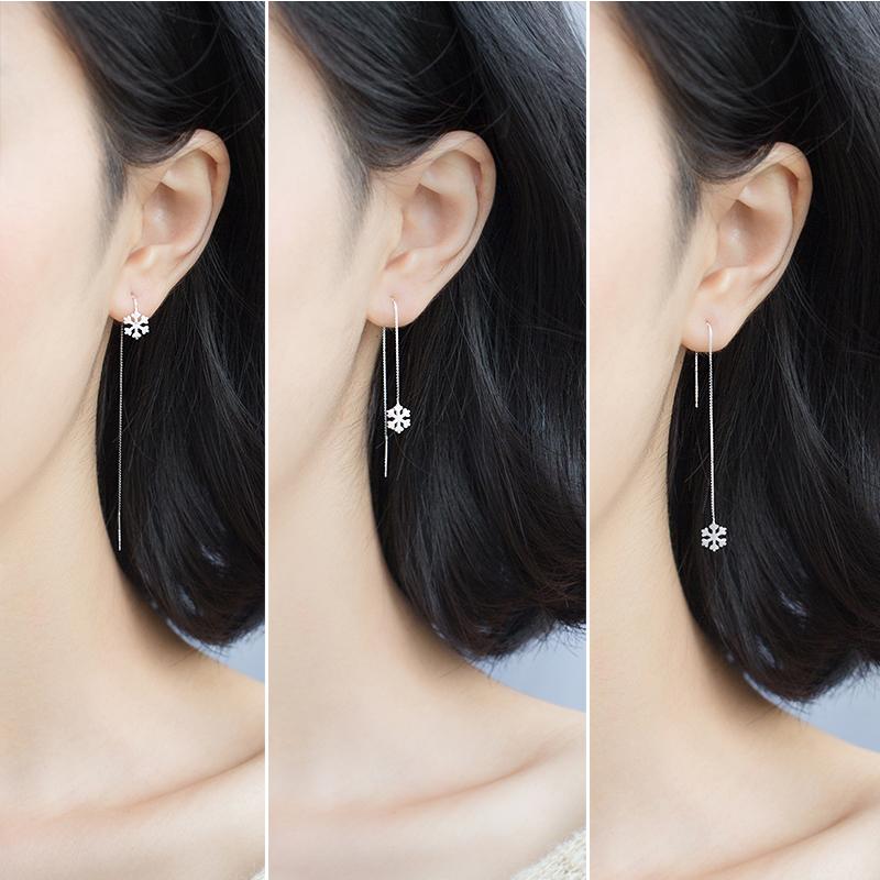 爱洛奇 925银雪花耳线女韩版时尚甜美拉丝气质圣诞长款耳环耳坠女