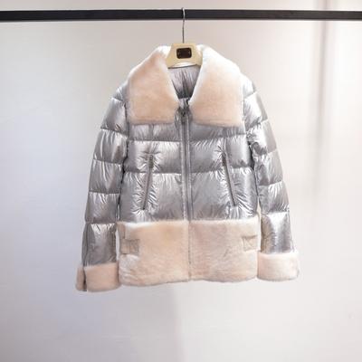 2018新款皮毛一体拼接羽绒服女短款皮草羊羔毛羊剪绒外套冬季欧货