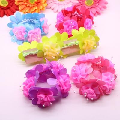 女孩盘头花朵发绳头绳可爱公主女童头饰发饰学生表演儿童头花饰品