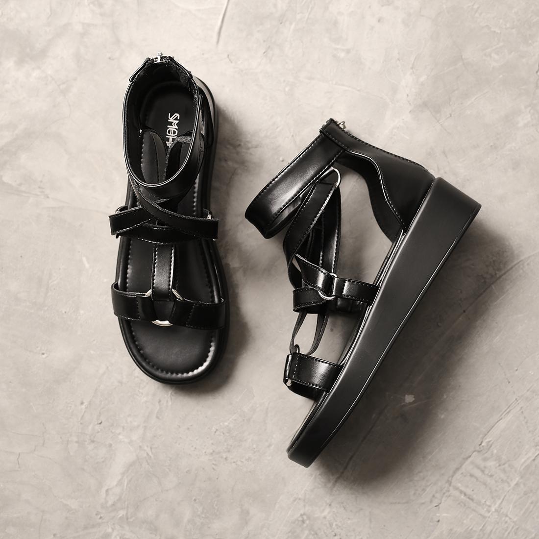 朋克凉鞋原宿风女凉鞋黑色松糕凉鞋厚底增高五芒星罗马鞋SMKB原创