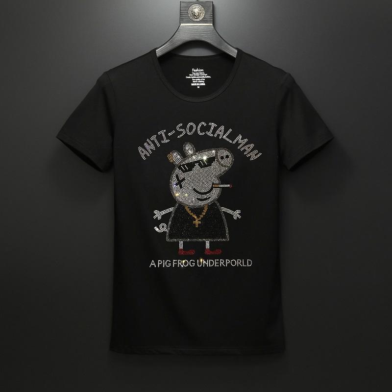 卡通动漫t恤男短袖情侣社会人动物半袖修身烫钻小猪半袖上衣大码