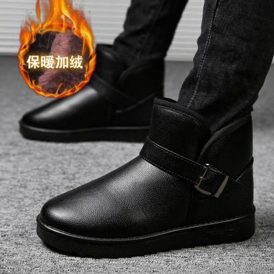 冬季男鞋雪地靴保暖加绒短靴马丁男靴子加厚棉鞋高帮防水面包棉靴