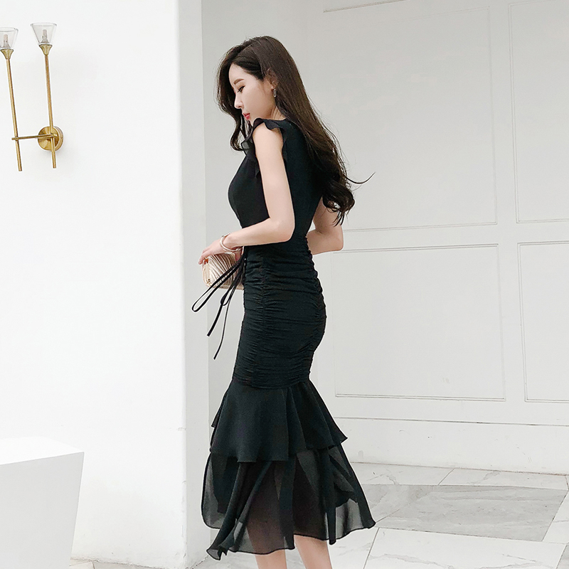 black dress dress skirt sexy fishtail skirt temperament feminine lady skirt is