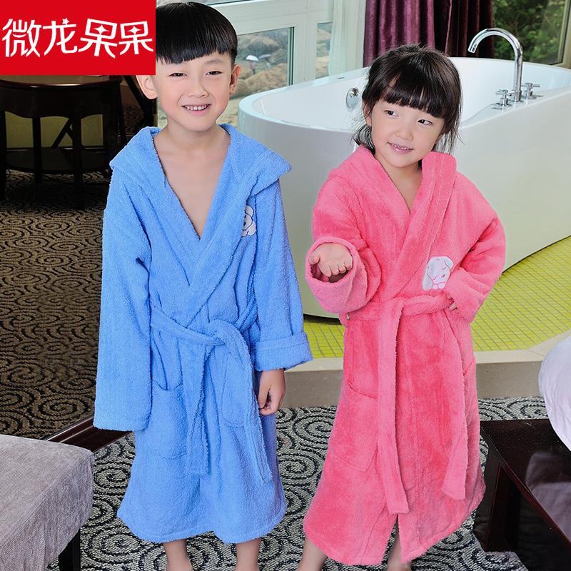 速干纯棉吸水毛巾料女童男孩女孩小孩子游泳温泉洗澡儿童浴袍浴衣