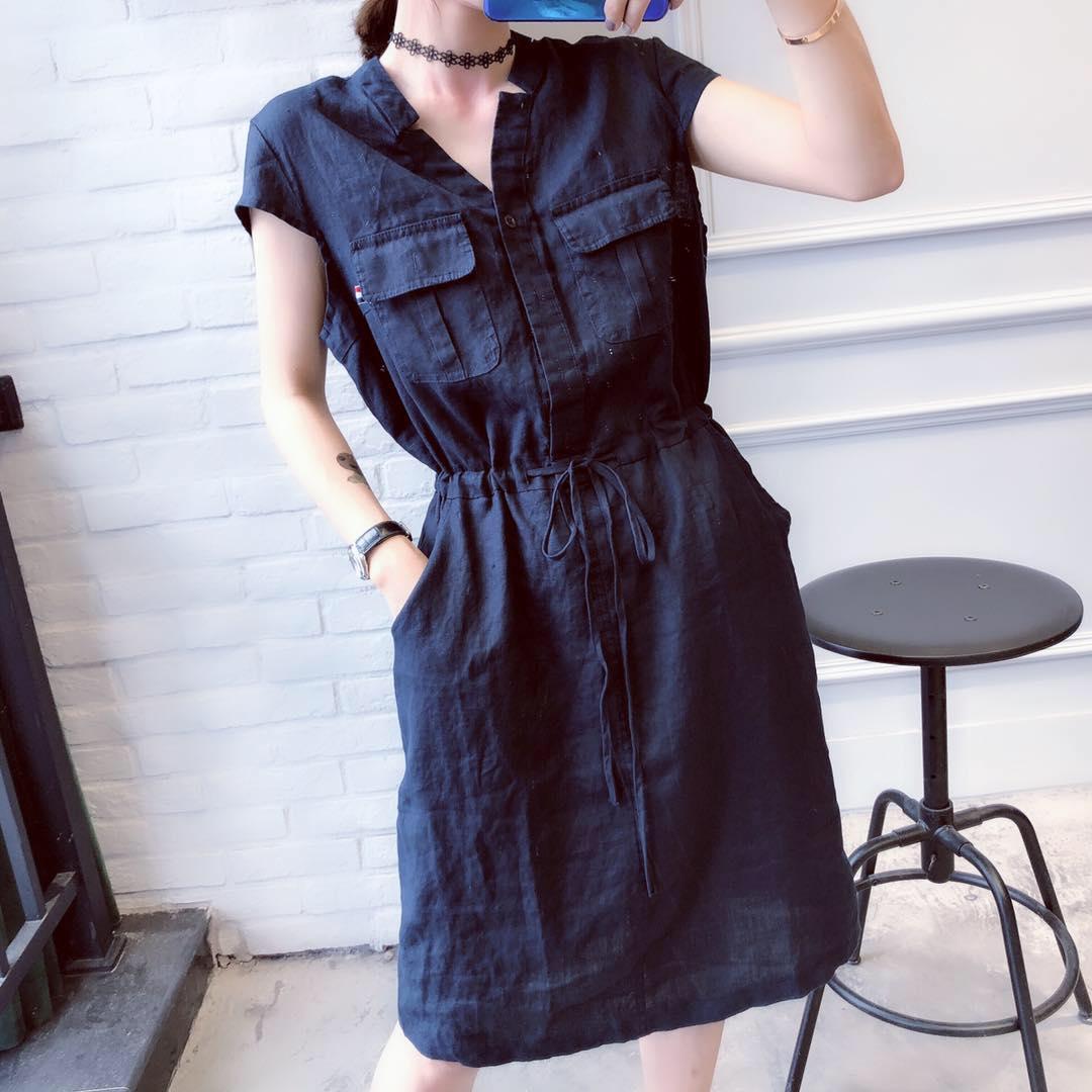 韩版时尚V领一排扣抽绳收腰连衣裙女2018夏装新款棉麻短袖裙子潮