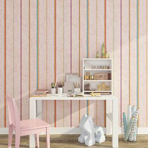 简约彩色竖条纹墙纸 客厅沙发电视背景墙壁纸无纺布 儿童房墙壁纸