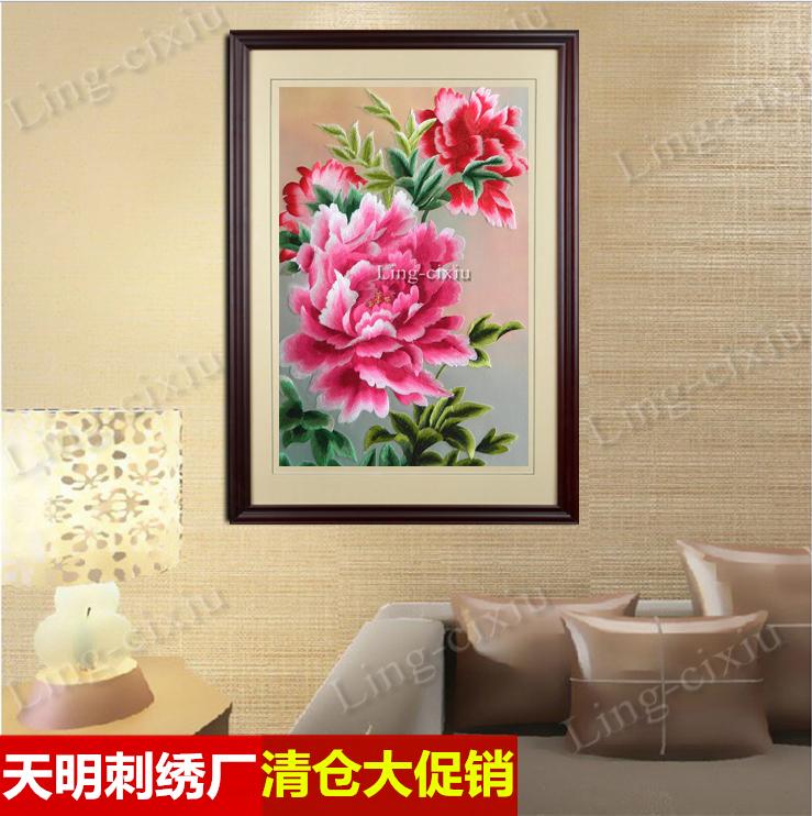 客厅刺绣牡丹花