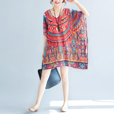 2018夏季新款女装大码印花雪纺连衣裙波西米亚短裙海边度假沙滩裙