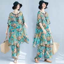 文艺女装2018夏装新款民族风印花洋气套装宽松大码长裤子两件套