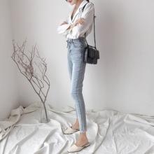 2018早秋装新款高腰裤子侧边系带小脚裤做旧铅笔牛仔裤九分裤女装