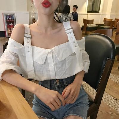 2018夏季新款性感露肩一字领短袖上衣宽松可调节吊带衬衫衬衣女装