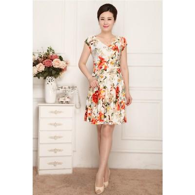 2016夏季新款女装妈妈连衣裙中老年大码短袖修身中年女性印花裙子