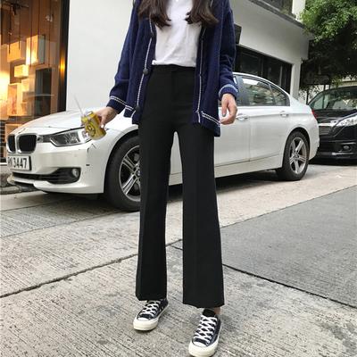 夏季新款韩版高腰休闲裤女百搭宽松黑色西装裤直筒阔腿微喇叭裤子