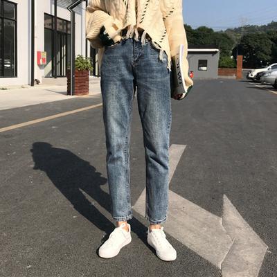 磨白高腰牛仔裤女春季新款韩版百搭简约宽松显瘦基础款直筒裤长裤