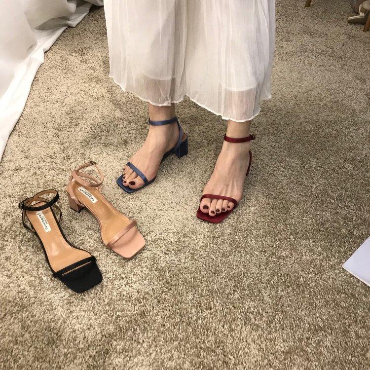 一字带凉鞋女中跟2019新款夏季高跟鞋百搭简约时尚露趾粗跟女鞋子