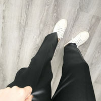 AfuShop/19 spring chic texture satin gloss versatile black giant slimming nine points trousers female