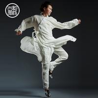 中国风男装亚麻禅服中式长袍道袍汉服男士古装古风居士服长衫套装