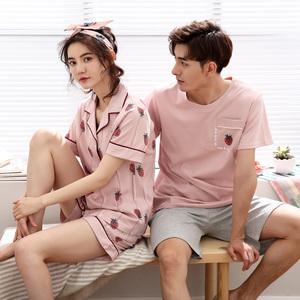 2套价 情侣睡衣夏纯棉短袖可爱宽松大码男女士家居服套装韩版草莓