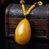 Old beeswax pendant men and women models drop amber necklace long ethnic style chicken oil yellow peace square card sweater chain gift