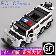 卡威合金警车模型儿童回力车玩具警察车战车模型仿真越野车玩具车