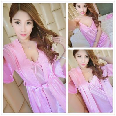 睡衣女士夏季睡裙吊带套装短袖性感情趣诱惑冰丝绸雪纺睡袍两件套