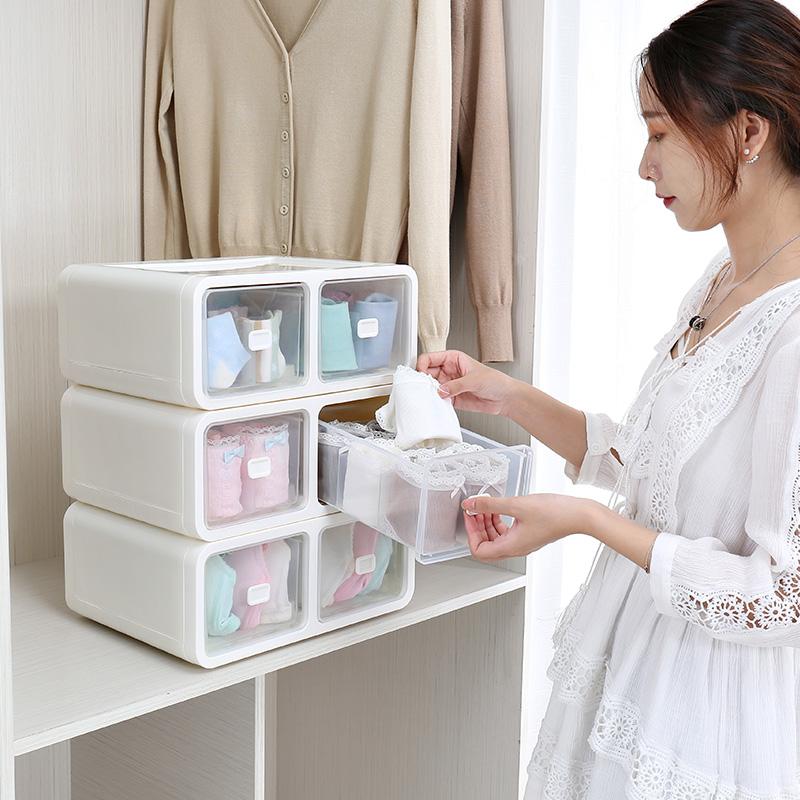 抽屉式内衣收纳盒塑料分格衣柜衣物内裤袜子文胸整理盒小号收纳柜3元优惠券