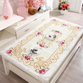 欧式田园客厅茶几桌布镂空刺绣长方形餐桌布布艺饭桌布小盖布特价