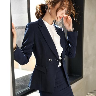 春夏职业装西装外套女2019新款女士时尚韩版英伦风修身黑色西服