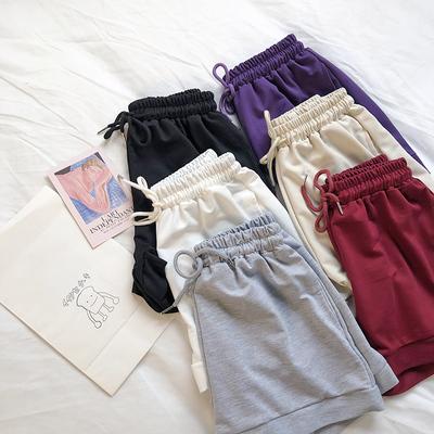 RENA推荐活力少女舒适基础百搭款抽绳松紧腰宽松显瘦夏季休闲短裤
