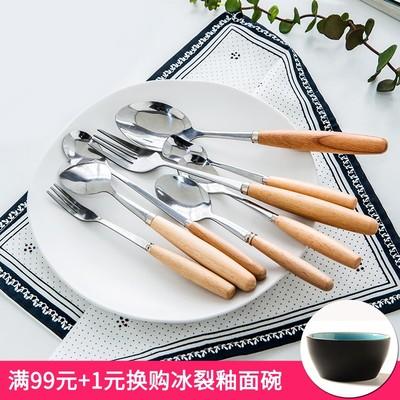 亿嘉创意不锈钢刀叉日式木柄刀叉勺简约好看的西餐叉牛排叉刀家用