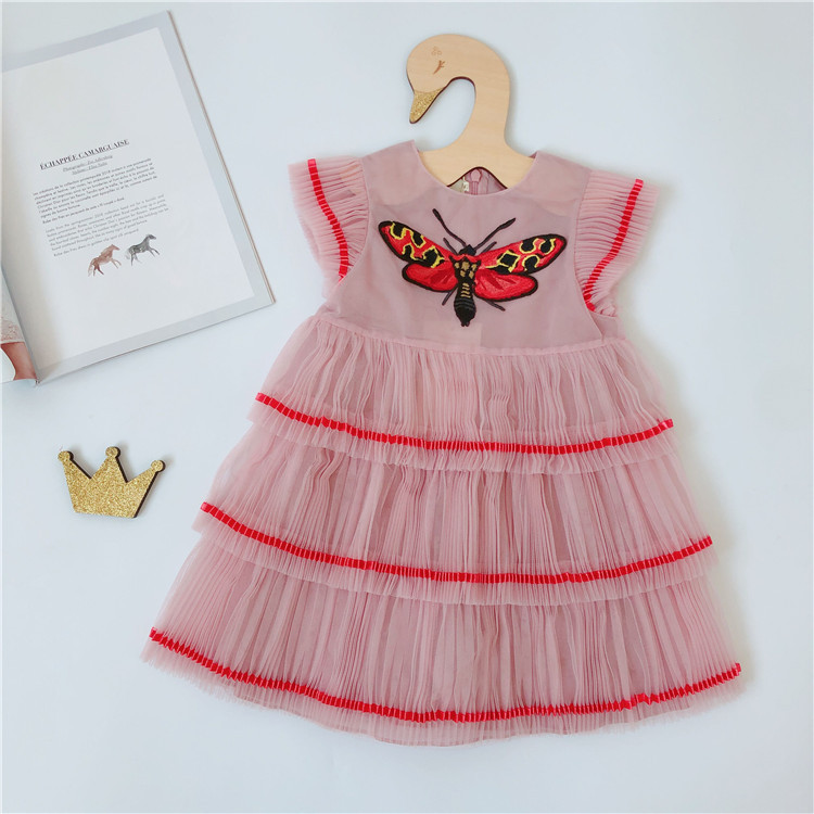 夏款蝴蝶刺绣儿童百褶裙中大女童粉色公主裙时髦洋气童装连衣裙