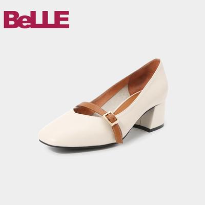 百丽女鞋商场新款牛皮撞色粗高跟玛丽珍单鞋T2G1DCQ8