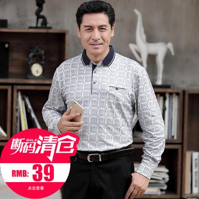 【断码清仓】爸爸秋装长袖t恤中老年人40-50岁男装中年男士polo衫