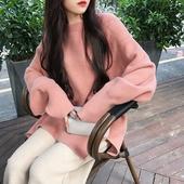 2018秋季新款韩版网红中长款宽松慵懒风毛衣女开叉套头针织衫外套
