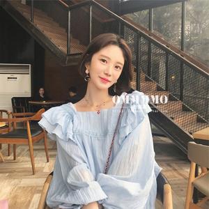 图片:2019夏季新款很仙甜美荷叶边衬衫轻薄洋气娃娃衫长袖女上衣雪纺衫