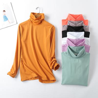 2018新款修身高领短袖打底t恤衫夏季女超弹力薄款纯棉大码长袖T恤